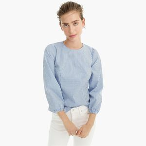 J. Crew Blue White Puff Sleeve Poplin Blouse